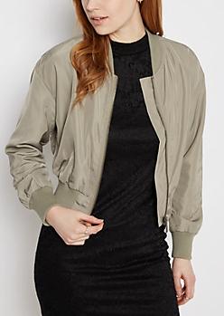 Olive Cropped Bomber Jacket