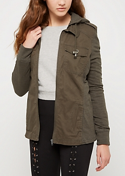 Olive Hooded Anorak