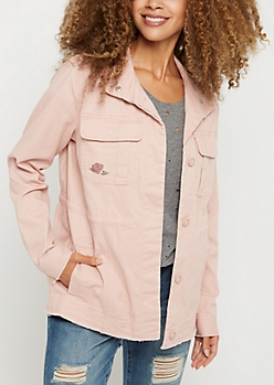 Pink Floral Embroidered Frayed Anorak