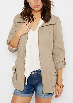 Khaki Zip-Down Twill Jacket