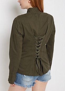 Olive Lace-Up Back Anorak