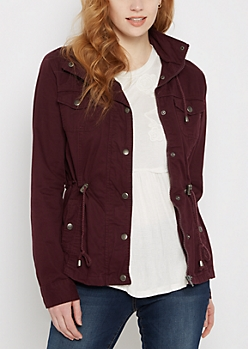 Burgundy Hooded Zip-Down Twill Jacket