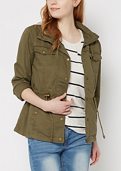 Olive Hooded Zip-Down Twill Jacket
