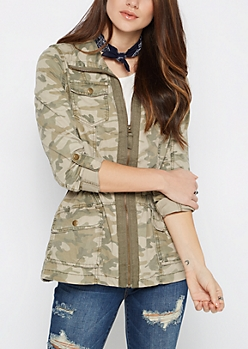 Light Green Camo Military Jacket