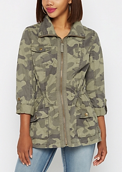Dark Green Camo Military Jacket