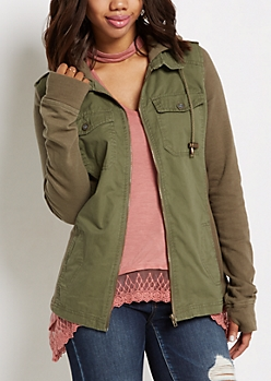 Olive Green Knit Sleeve Jacket