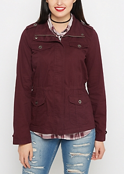 Burgundy Multi-Pocket Anorak