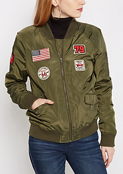 Green Cali Patched Bomber