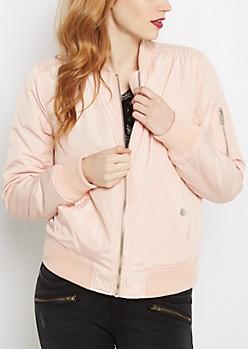 Pink Snap Pocket Utility Bomber Jacket