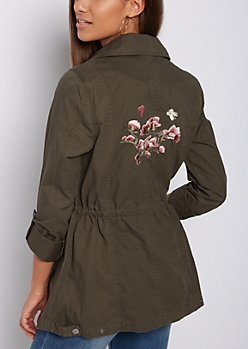 Olive Floral Embroidered Anorak