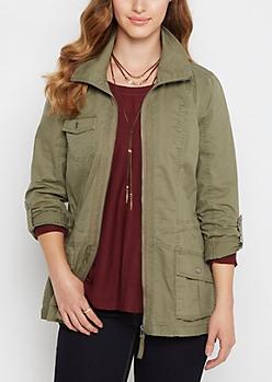Olive Twill Utility Jacket