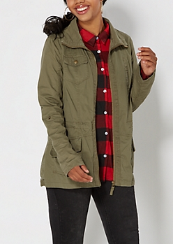 Olive Green Twill Anorak