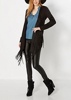 Black Cascading Fringe Jacket