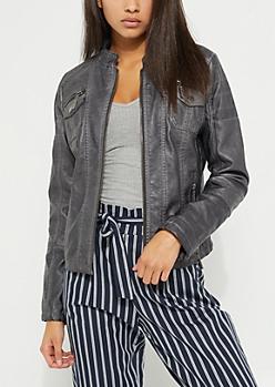 Gray Washed Faux Leather Moto Jacket