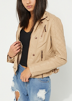Light Brown Quilted Sleeve Moto Jacket