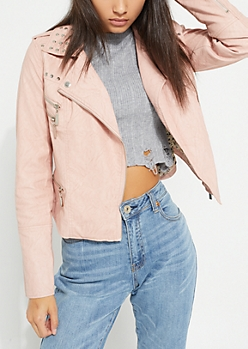 Light Pink Vegan Studded Moto Jacket