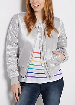 Silver Sateen Flap Pocket Bomber