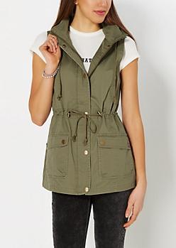 Hooded Military Anorak Vest