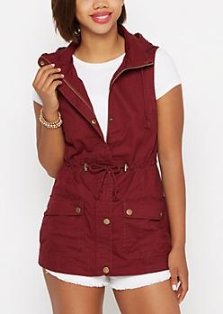 Burgundy Hooded Military Anorak Vest