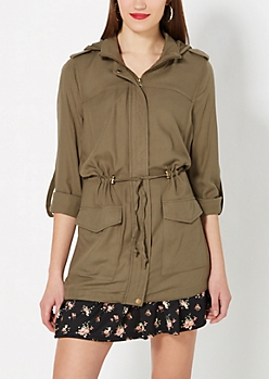 Olive Green Hooded Long Anorak