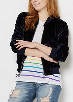 Navy Crushed Velvet Bomber