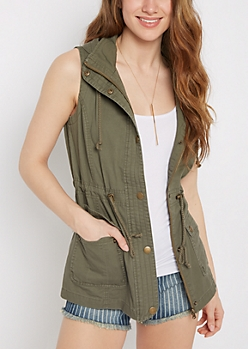 Hooded Twill Anorak Vest