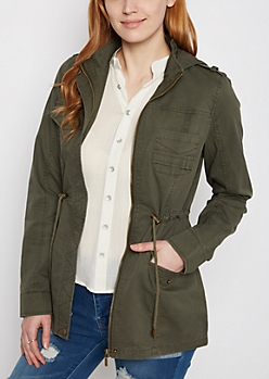 Dark Olive Hooded Anorak Jacket