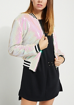 Silver Sequined Bomber Jacket