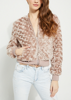 Purple Faux Fur Bomber Jacket