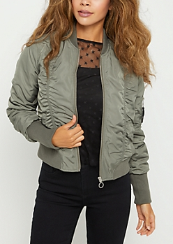 Olive Ruched Bomber Jacket