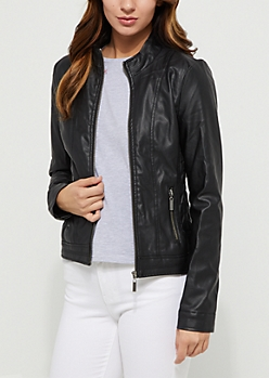 Black Faux Leather Ruched Waist Jacket