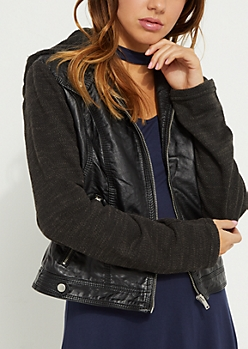 Black Faux Leather Knit Moto Jacket