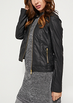 Black Faux Leather Snap Double Moto Jacket