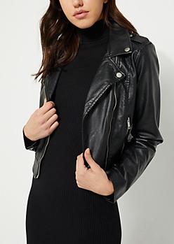 Black Faux Leather Zipped Moto Jacket