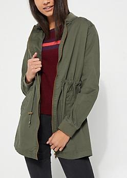 Olive Long Length Cinch Waist Bomber Jacket
