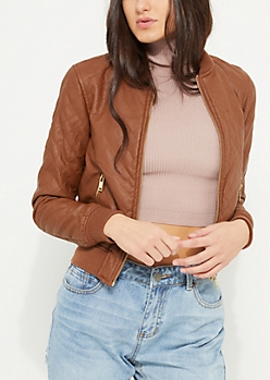 Brown Faux Leather Quilted Bomber Jacket