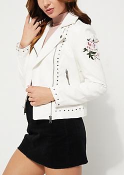White Studded Faux Leather Moto Jacket