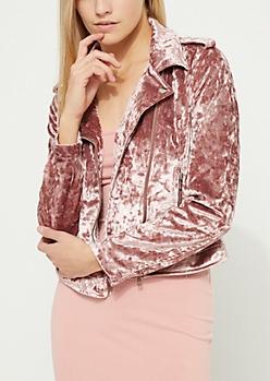 Pink Crushed Velvet Moto Jacket