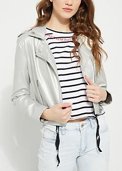 Silver Metallic Moto Jacket