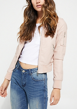 Pink Faux Leather Bomber Jacket