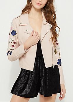 Pink Floral Embroidered Moto Jacket
