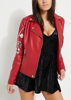 Red Vintage Floral Moto Jacket