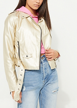 Gold Metallic Belted Moto Jacket