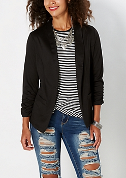 Black Ruched Cuff Blazer