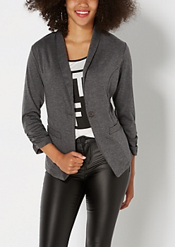Charcoal Gray Ruched Cuff Blazer