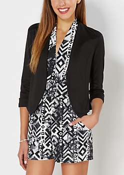 Black Cropped Knit Jacket
