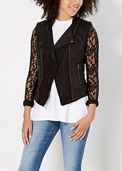 Black Lace Moto Jacket