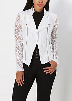 White Lace Moto Jacket