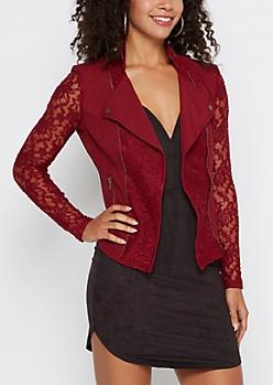 Burgundy Lace Moto Jacket