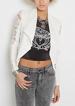 White Lacy Angled Zip Jacket